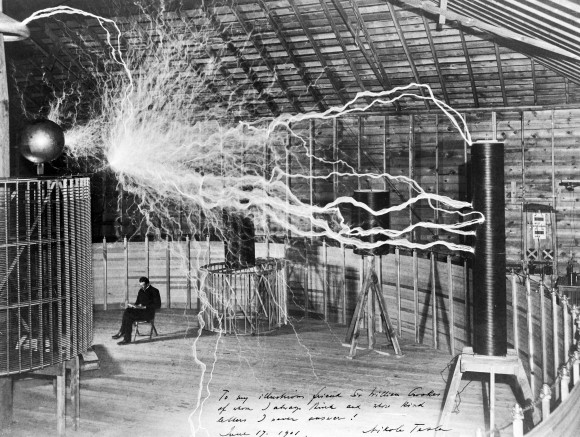 M0014782 Nikola Tesla, with his equipment